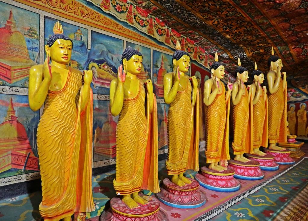 Buddhist disciple statues inside cave, Mulkirigala Raja Maha Vihara Temple