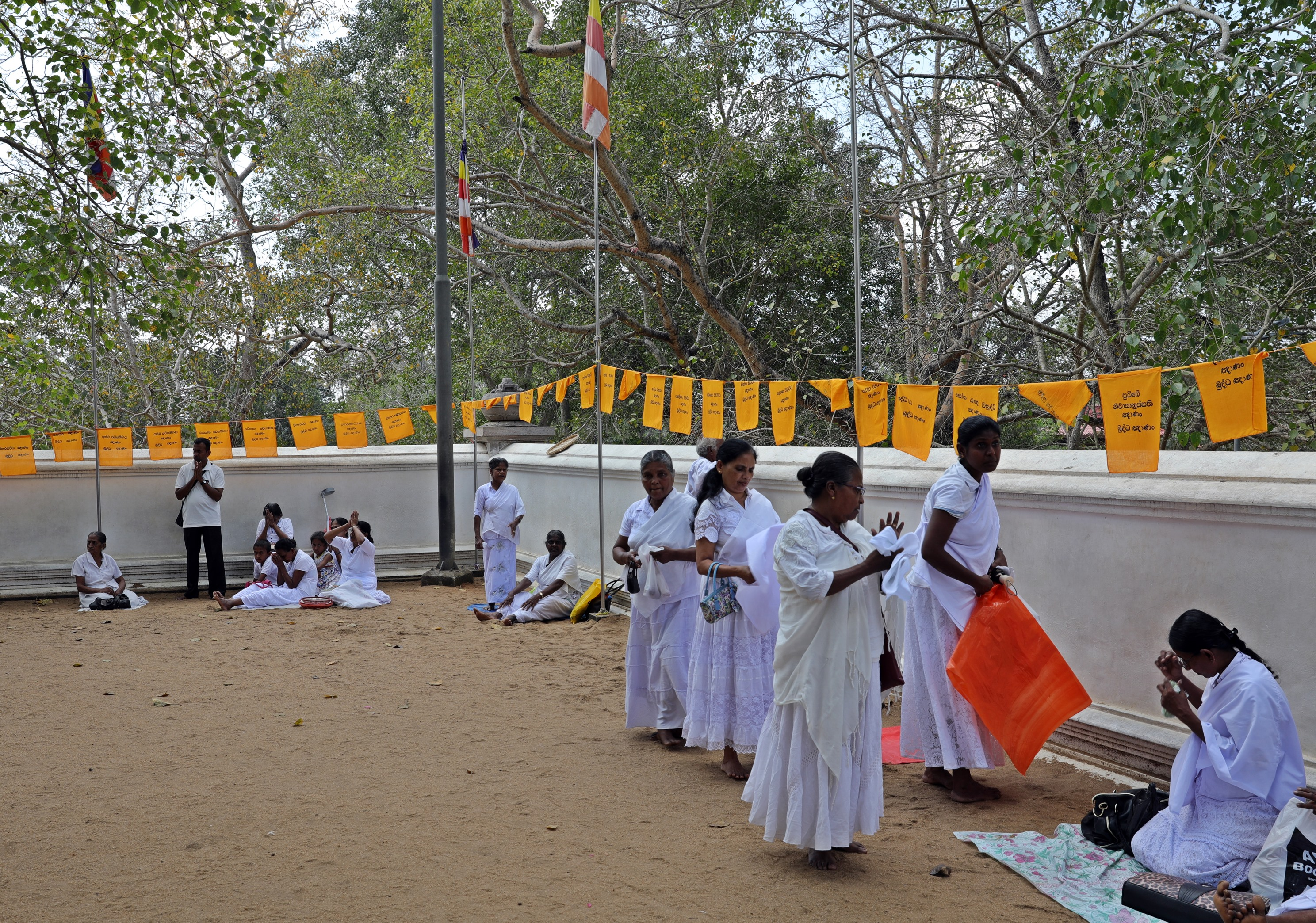 Worshipers at Sri Maha Bodhi Temple, Anuradhapura