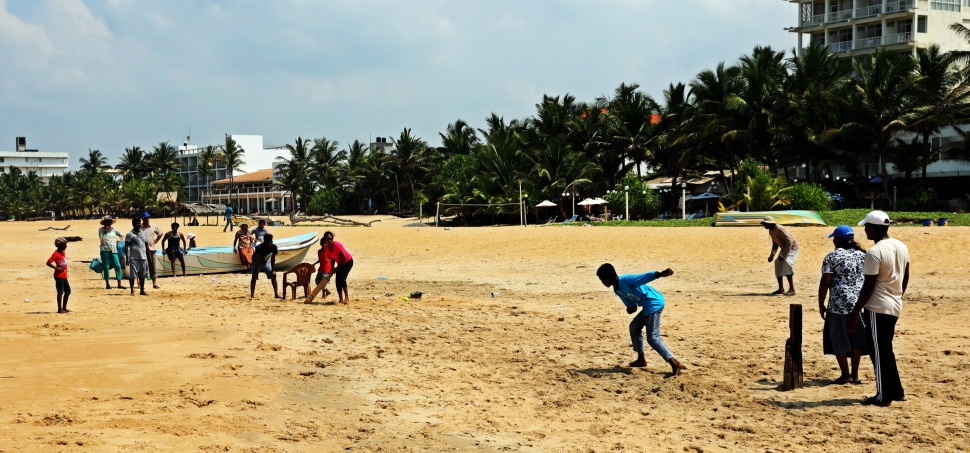 Cricket game, Negombo Beach