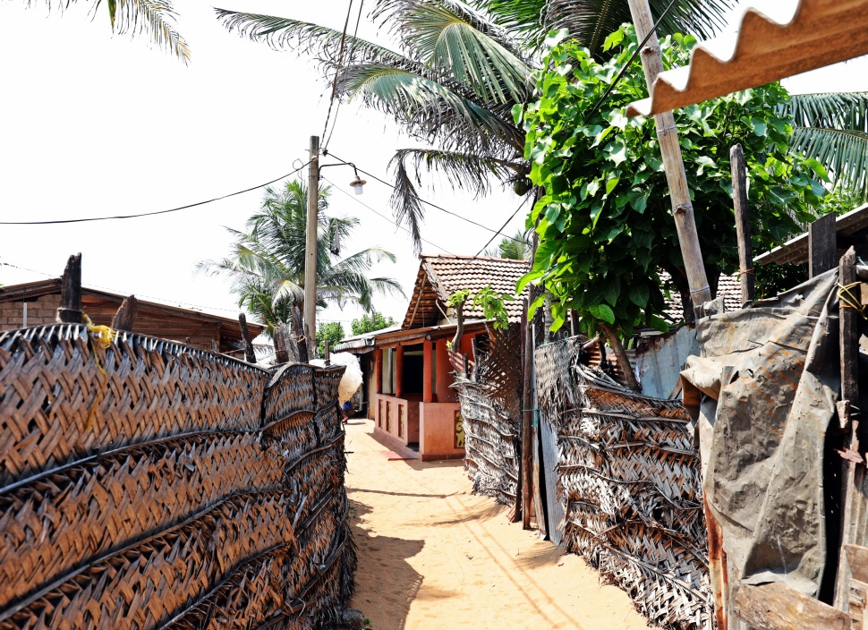 Fishermen's homes, Negombo Beach