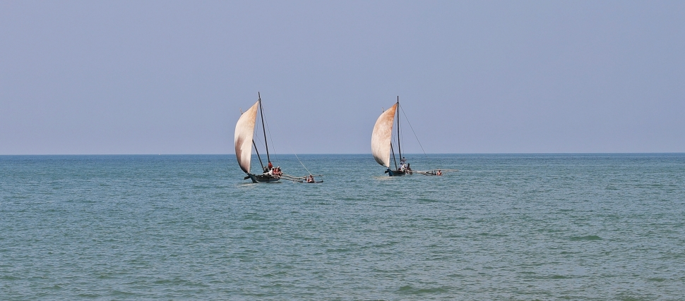 'Catamarans' sailing near Negombo beach
