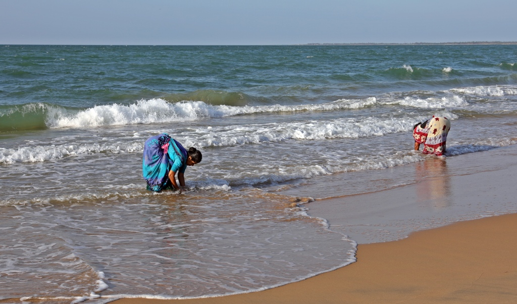 Digging for clams, Kalpitiya Beach