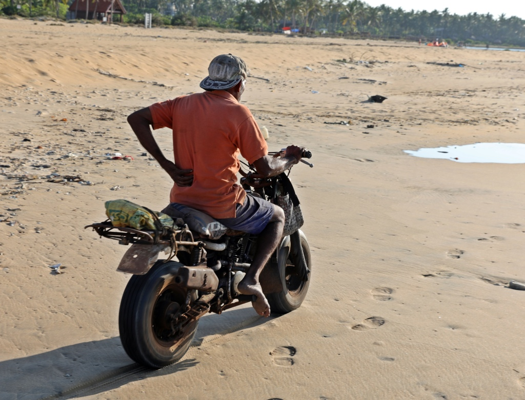 Motorcycle on the beach, Kalpitiya
