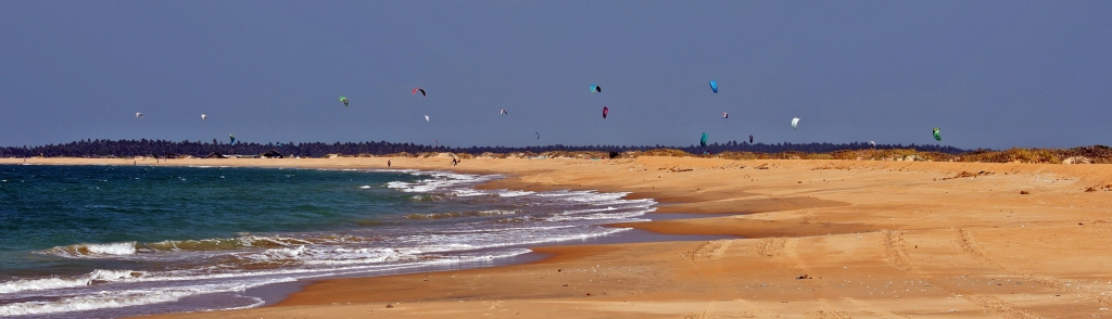 Kite surfers above Kalpitiya beach