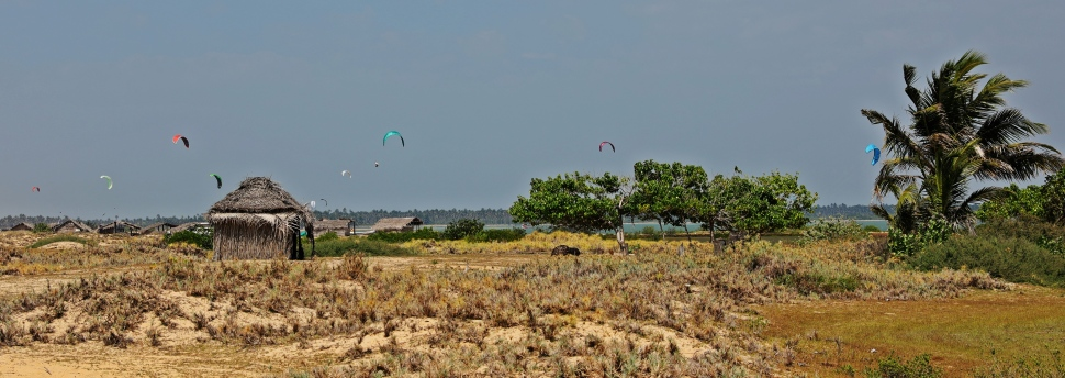 Kite surfers and fishing shacks Kalpitiya Lagoon