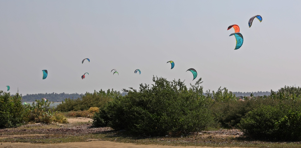 Kite surfers, Kalpitiya Lagoon