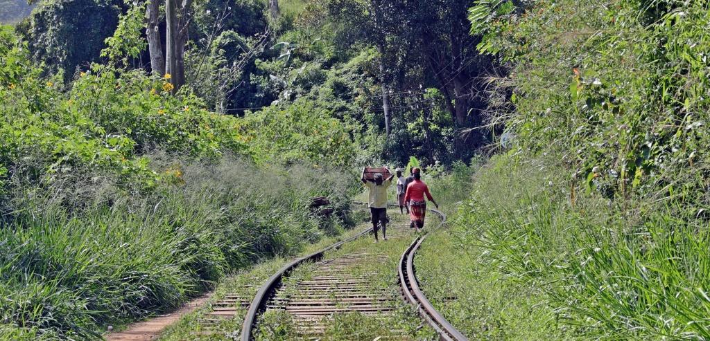 Locals walking on the railroad tracks near Ella