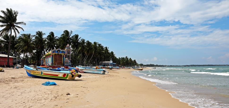Hindu temples and fishing boats, Uppuveli Beach