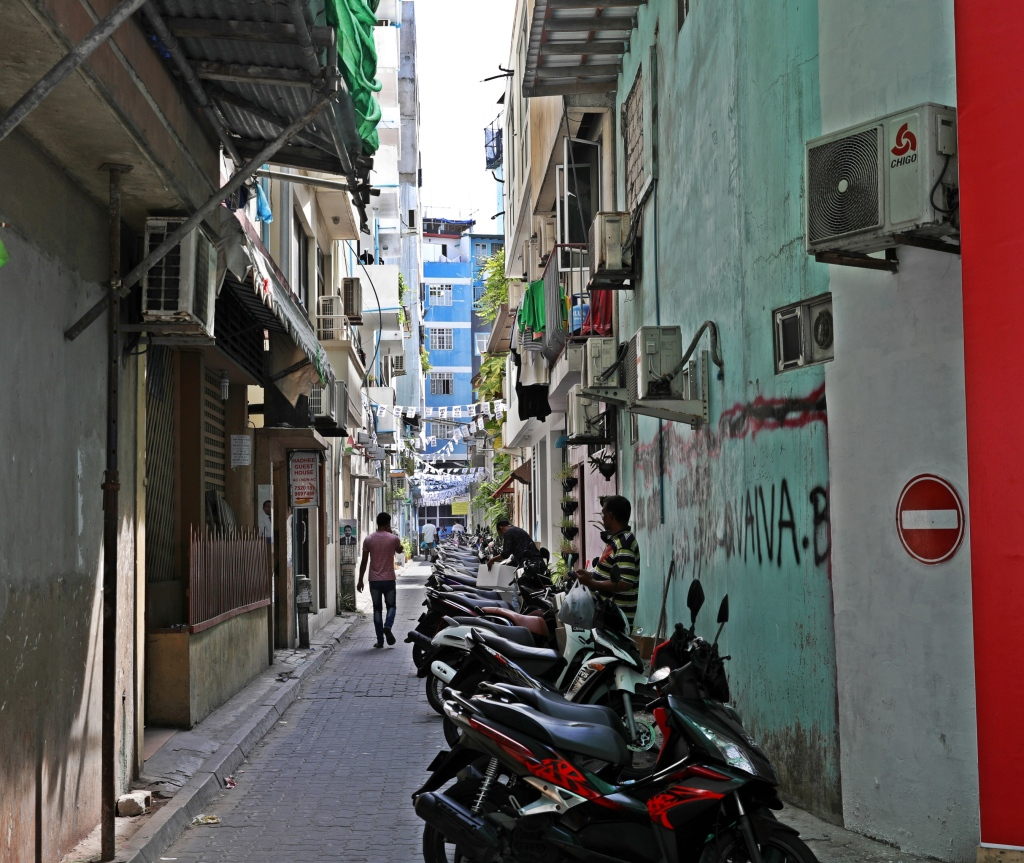 Narrow street in Male, Maldives