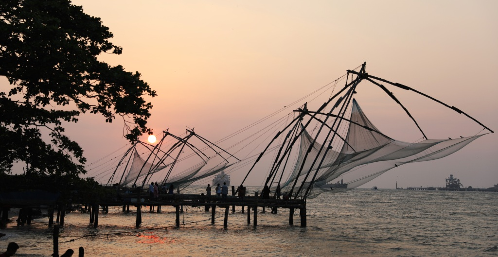 Chinese Fishing Nets at sunset, Kochi