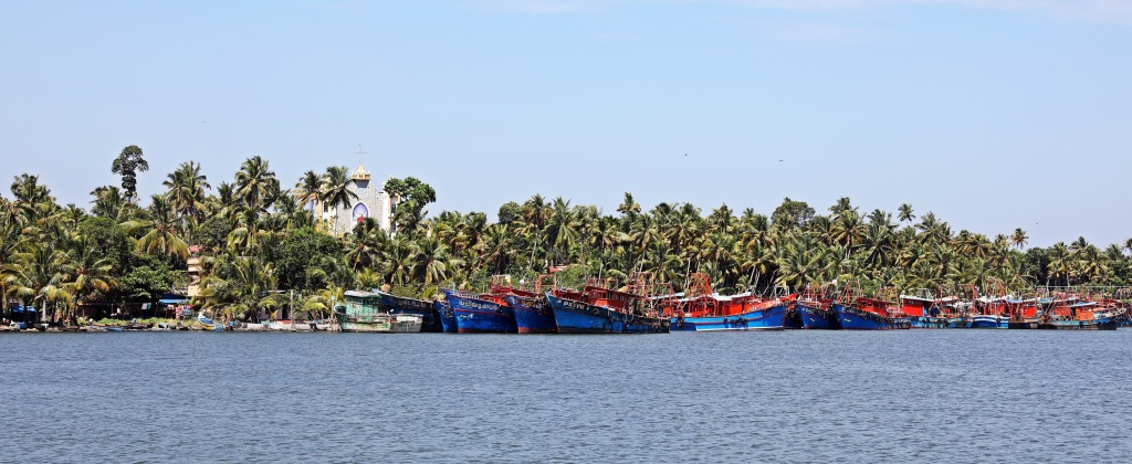Colourful fishing boats, Kerala backwaters