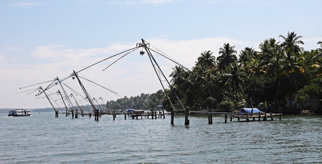 Chinese fishing nets, Kerala backwaters