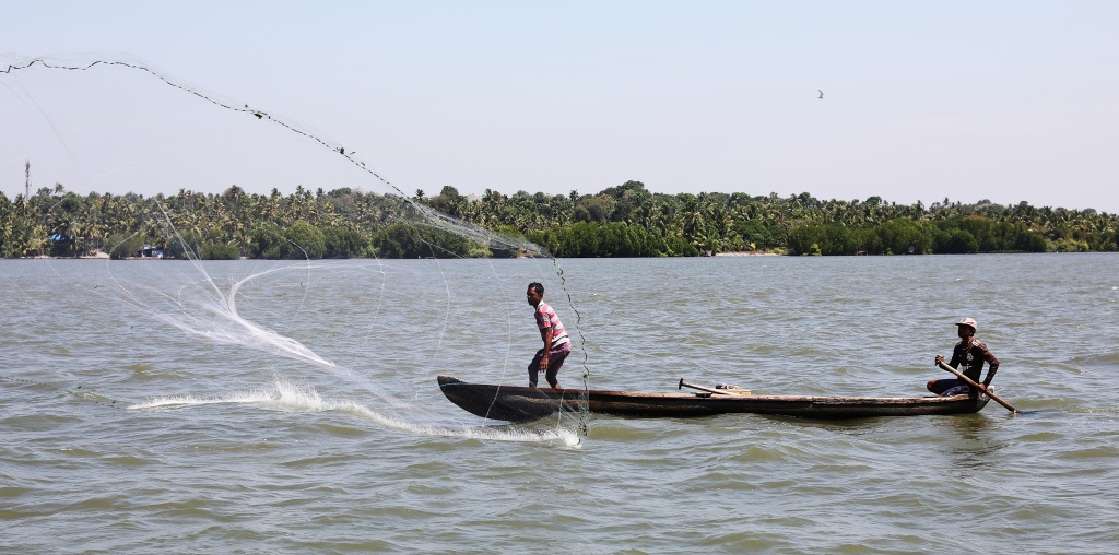 Casting a fishing net on a Kerala lake