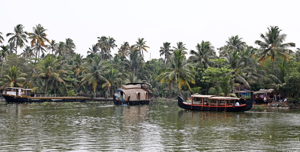 Houseboats, rice barge and fishing boats, Kerala backwaters