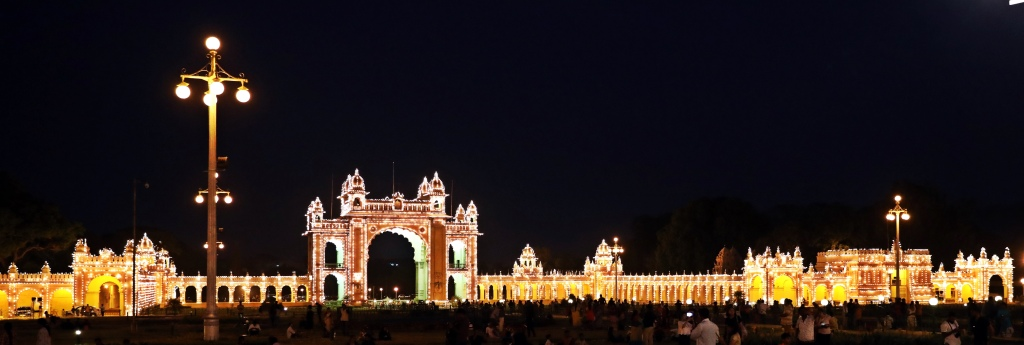 East Gate at night, Mysore Palace