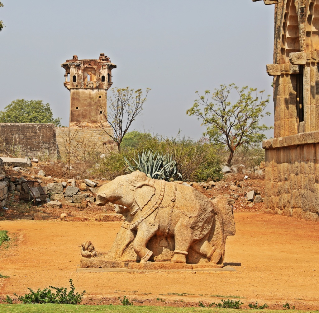 Elephant statue near Elephant Stables, Hampi