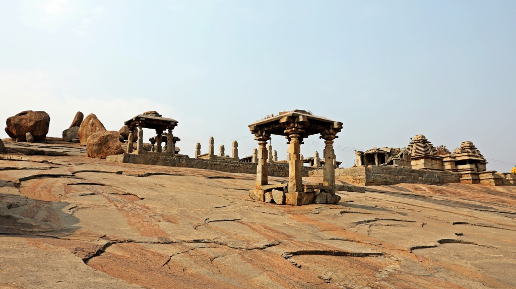 Small temples on granite slab, Hampi