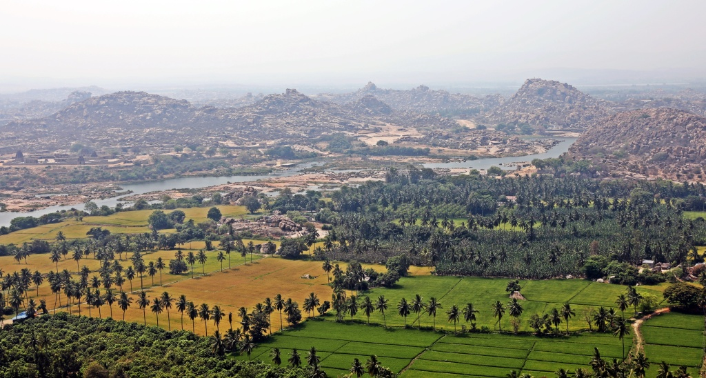 View from Monkey Temple of Hampi plains