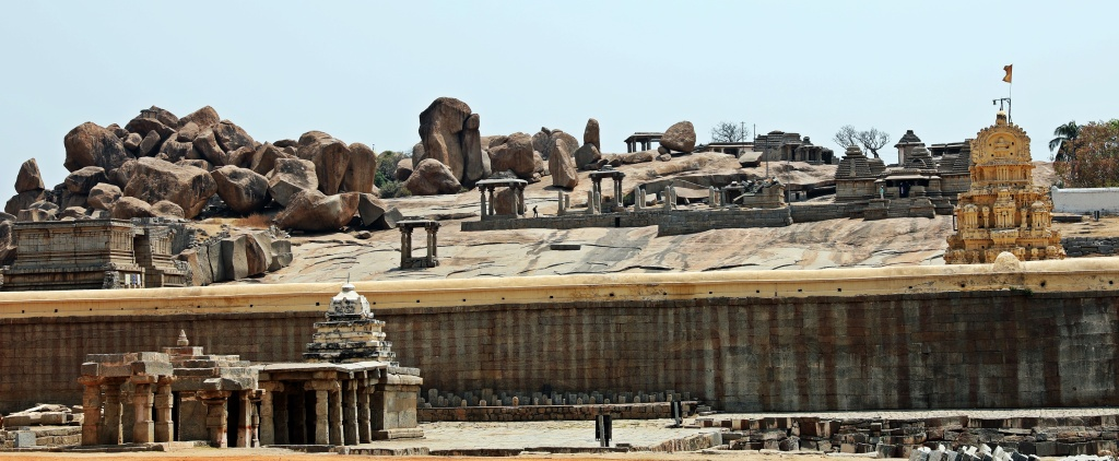 Temples on the slab above Virupaksha Temple, Hampi