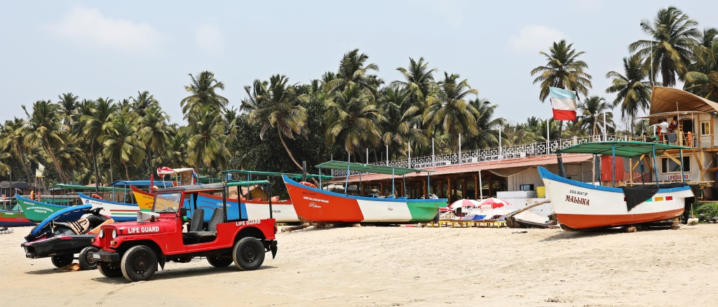 Baywatch with the rescue boats behind in Palolem Beach,Goa