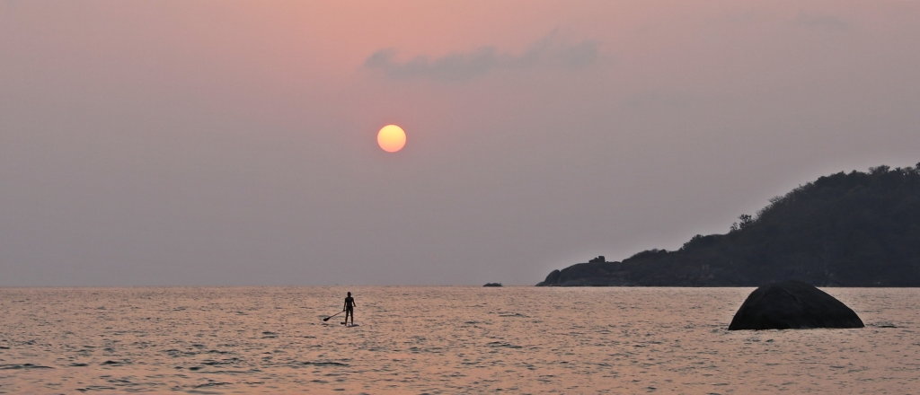 Paddler in the Sunset, Palolem Beach, Goa