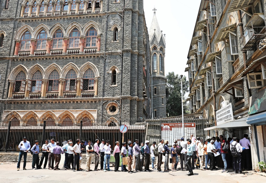 Line up at the High Court gates. Mumbai