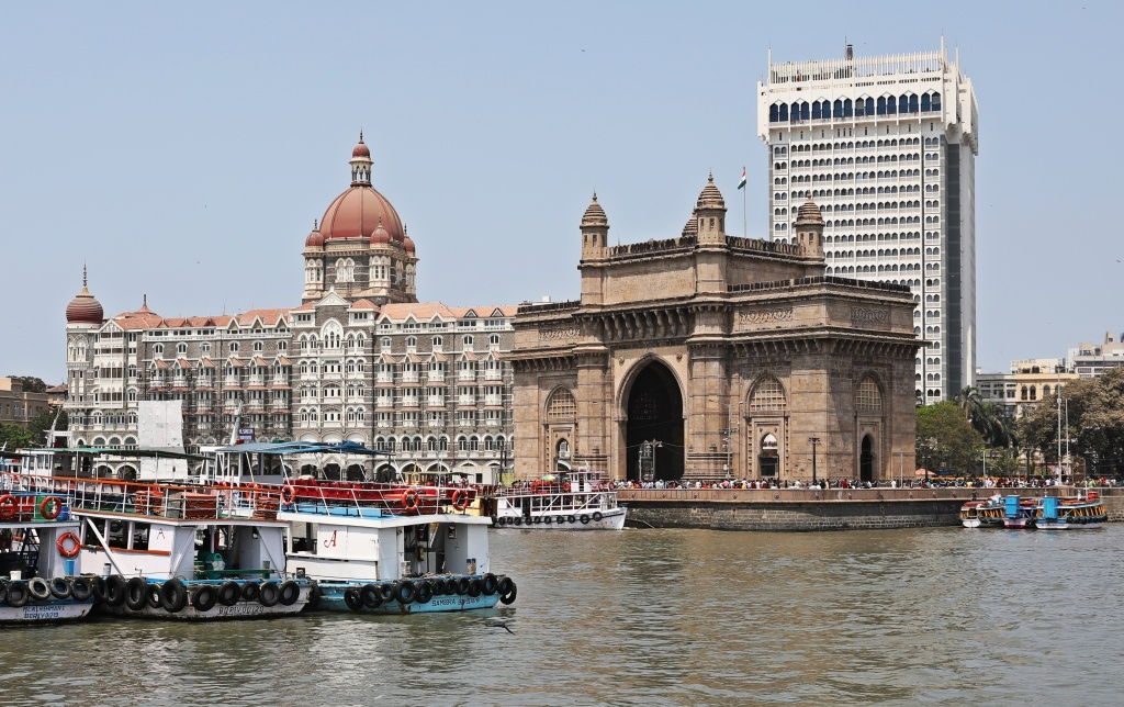 Gateway of India and Taj Mahal hotel, Mumbai Harbour