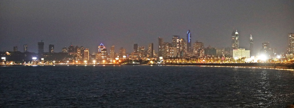 Mumbai skyline at night from Marine Drive