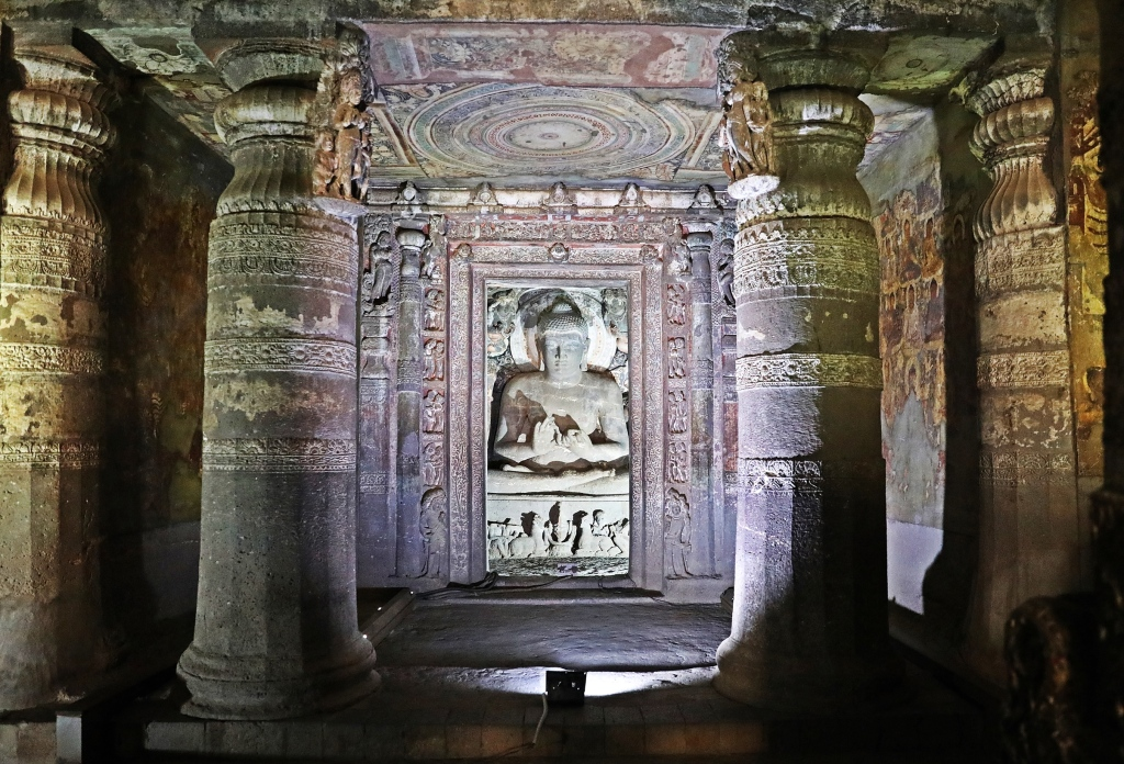 Buddha, frescoes and carvings, Ajanta
