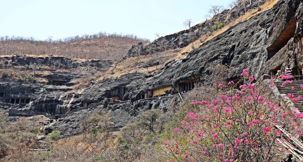 Ajanta rock-cut temples on basalt rock band