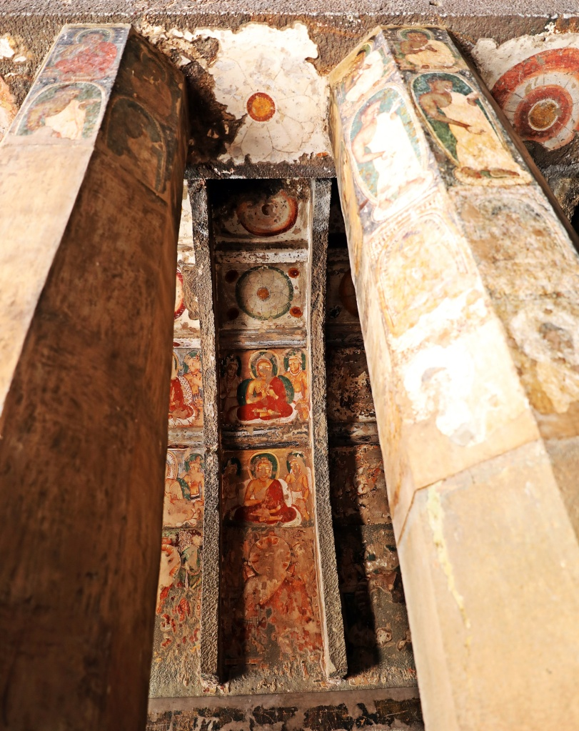 Frescoes on walls and columns, Ajanta
