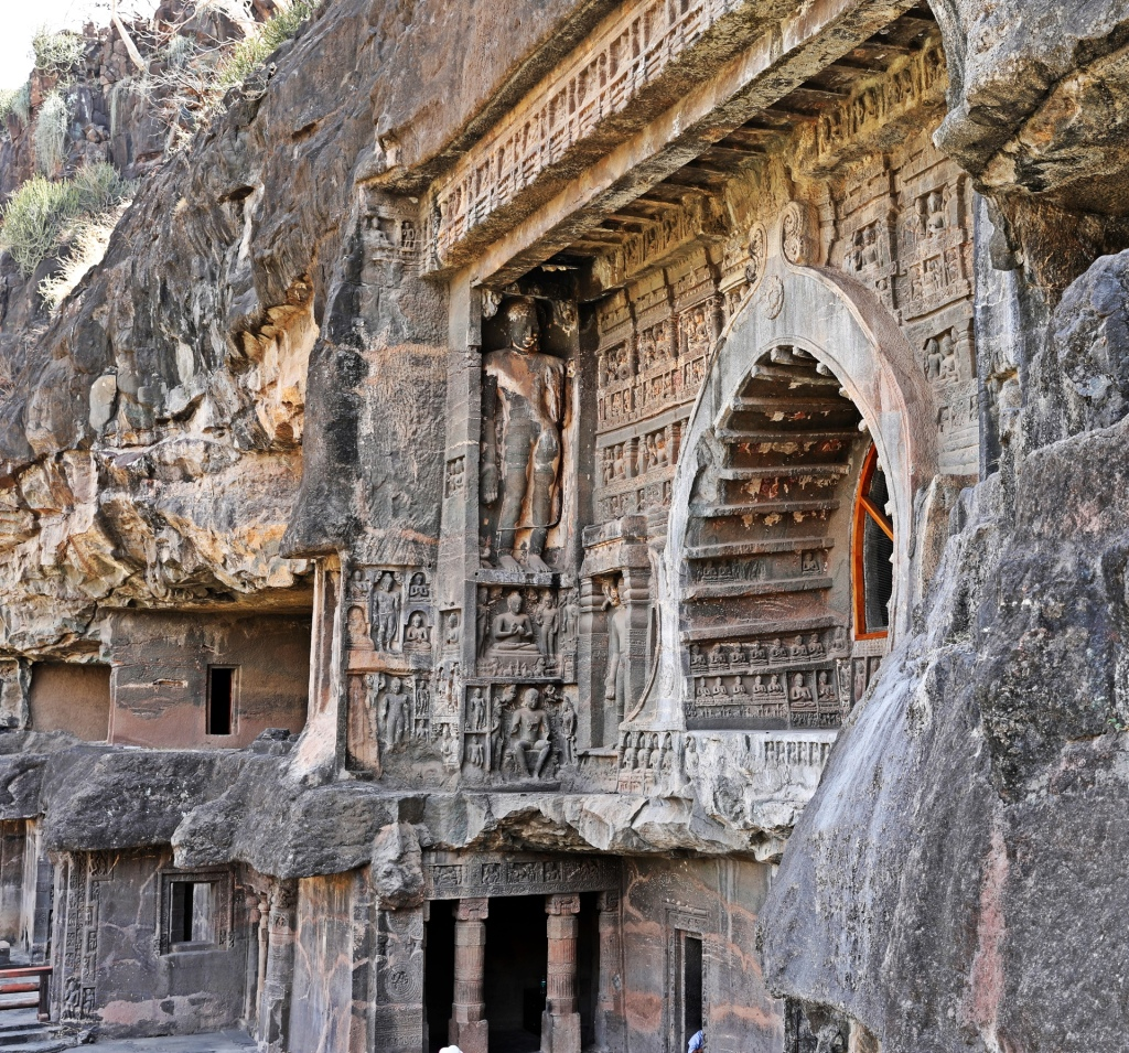 Buddhist rock-cut temple facade, Ajanta