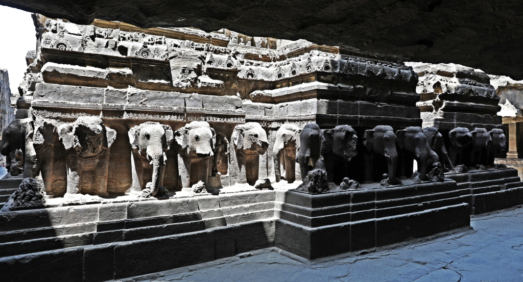 Elephant carvings, Kailasa rock-cut temple, Ellora