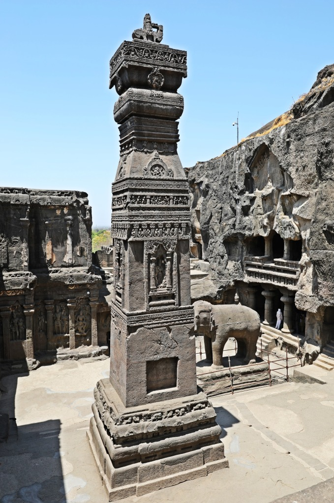 Column, Kailasa rock-cut temple, Ellora