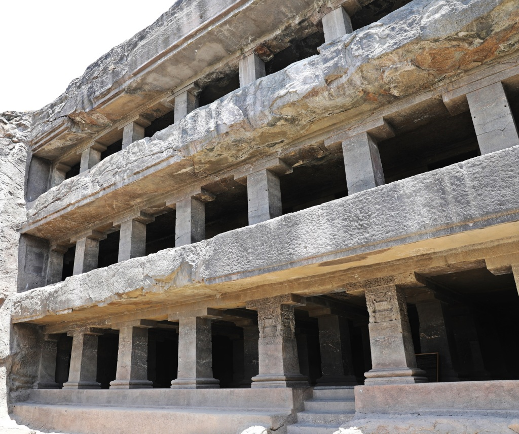 Three-story rock-cut temple, Ellora