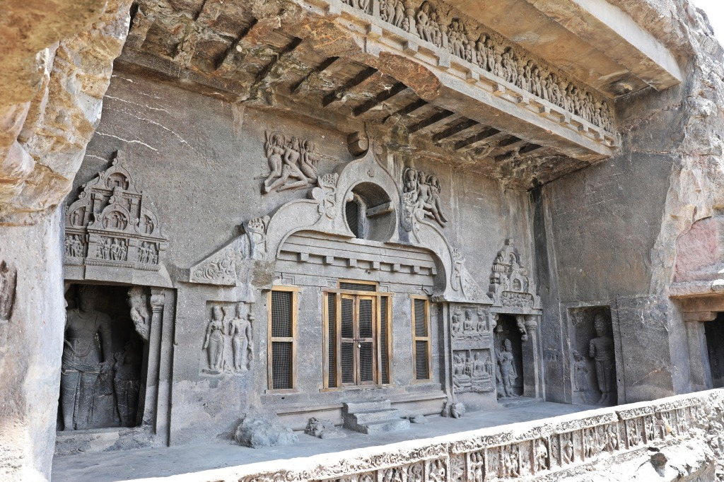 Detailed designs on a balcony, Ellora