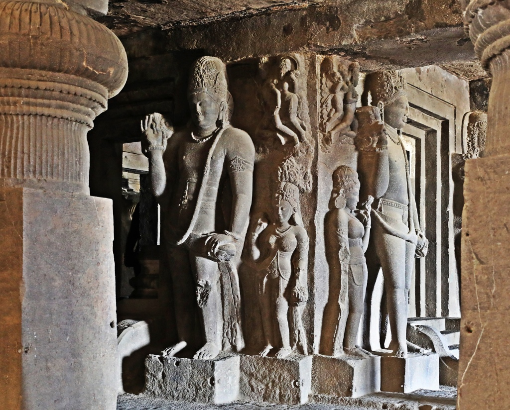 Statues, Hindu rock-cut temple, Ellora