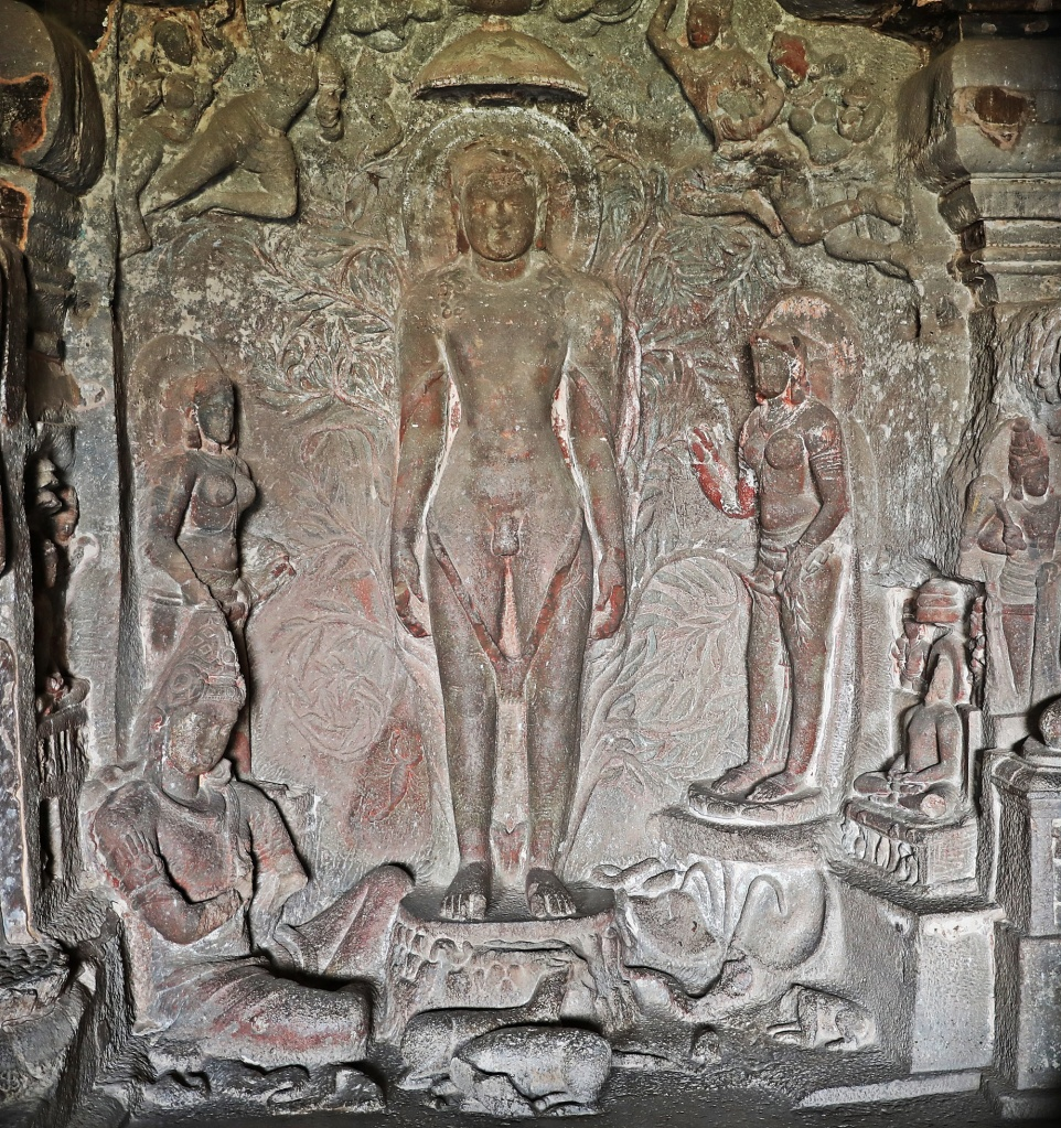 Nude Jain teacher carving, Ellora