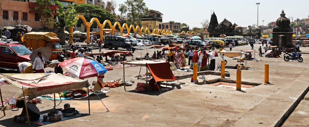 Market at the Godavari River Ghats, Nashik