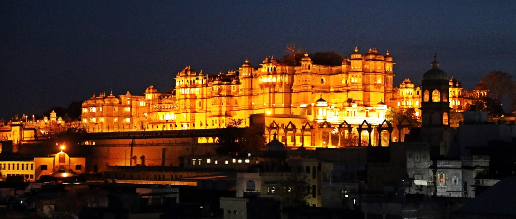 View from our hotel of City Palace at night, Udaipur