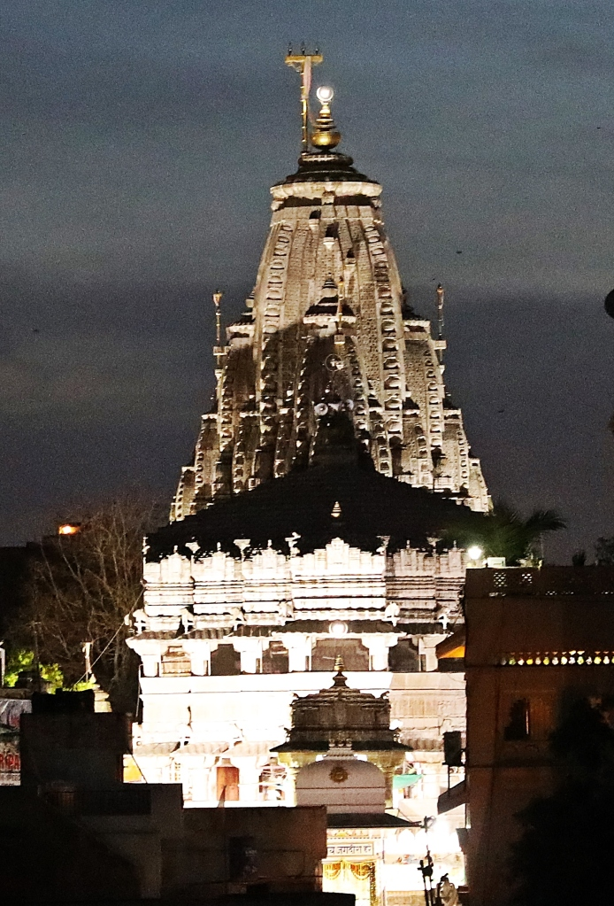 View from our hotel, Jagdish Temple at night, Jaipur