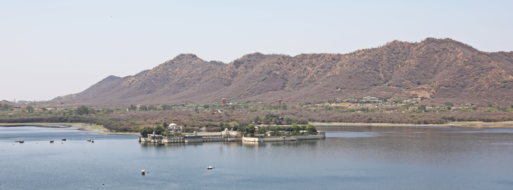 Lake Pichola and mountains of the Aravalli Range