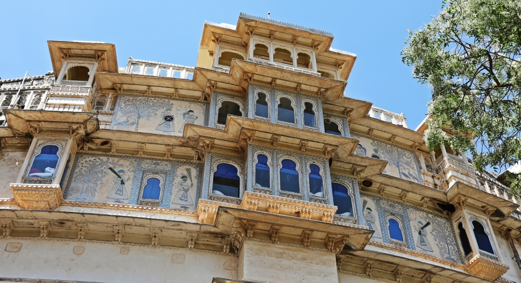 Colourful windows, Shiv Niwas Palace Hotel, Udaipur