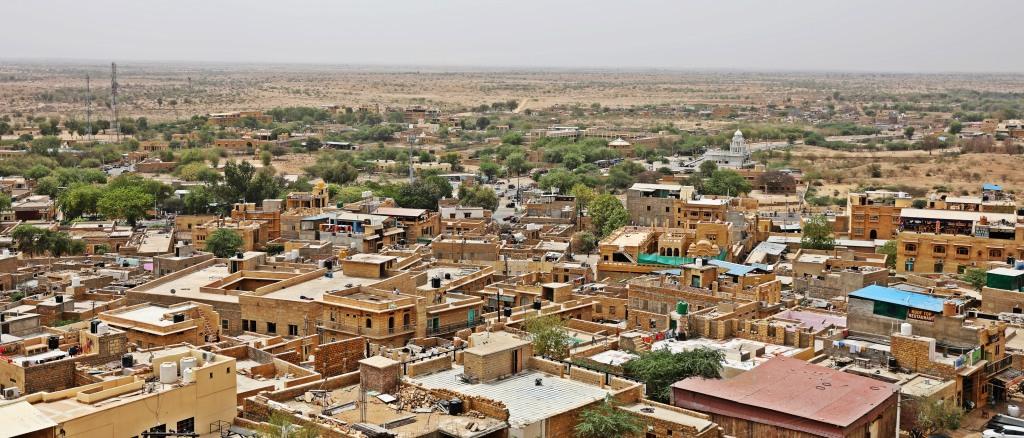 Jaisalmer City with Thar desert in the background