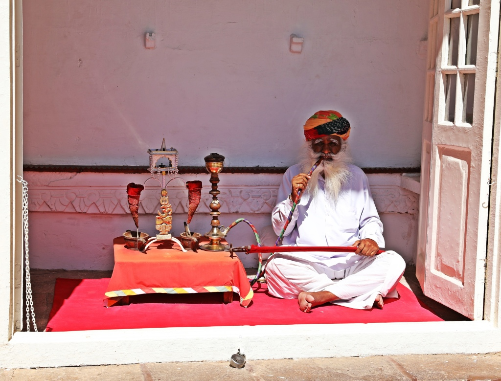 Rajasthani man with his hookah, Mehrangarh Fort, Jodhpur