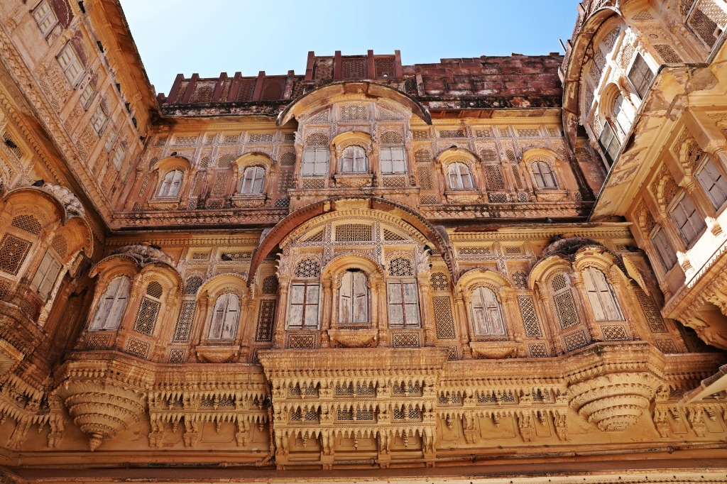 Balconies over a courtyard, Mehrangarh Fort, Jodhpur