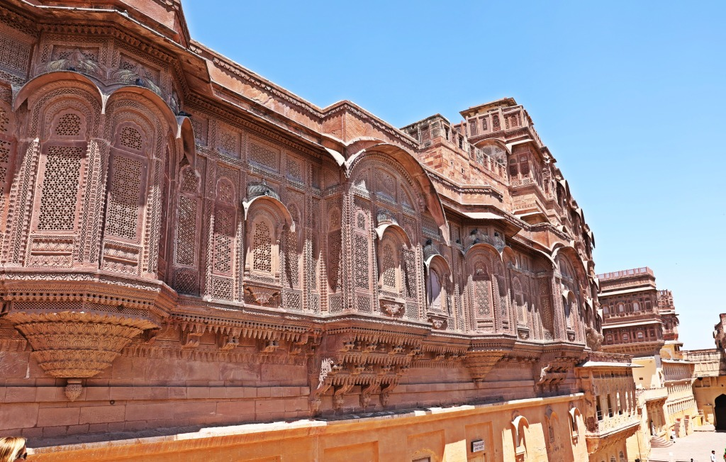 Balconies overlooking the fort grounds, Jodhpur