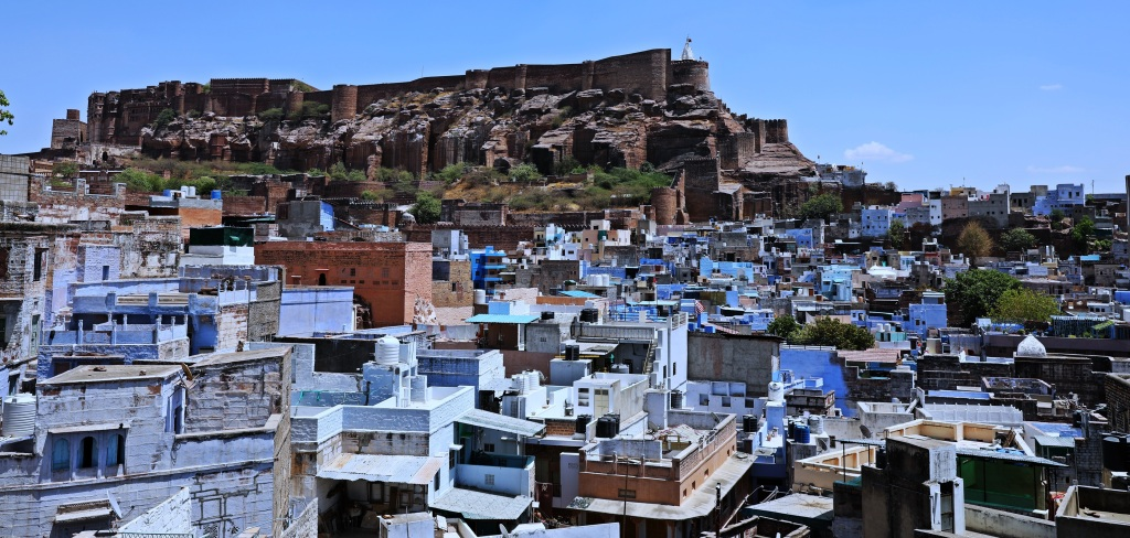 Blue city in front of Mehrangarh Fort, Jodhpur
