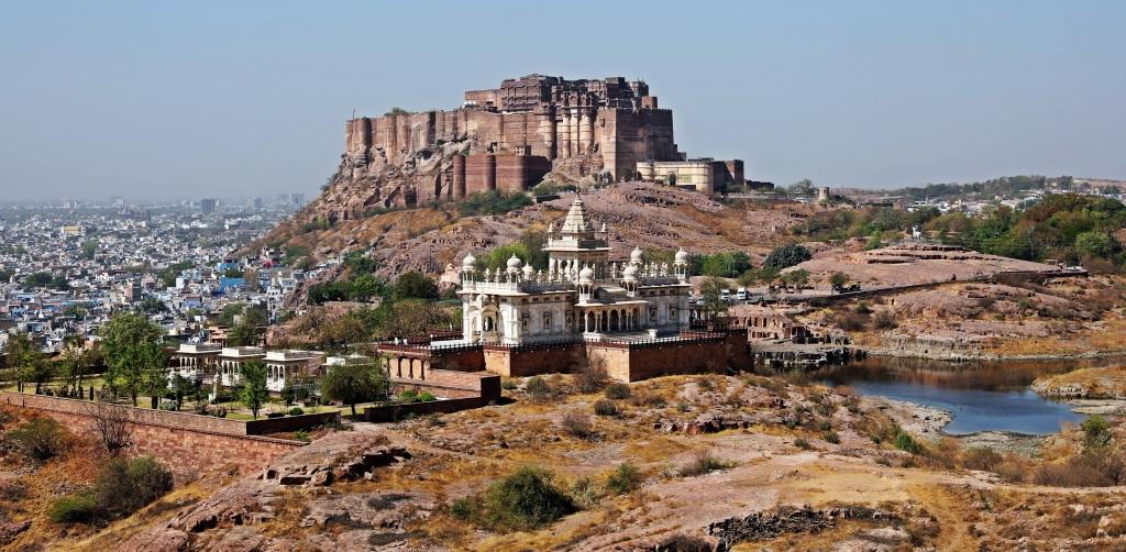Mehrangarh Fort behind Jaswant Thada, Jodhpur