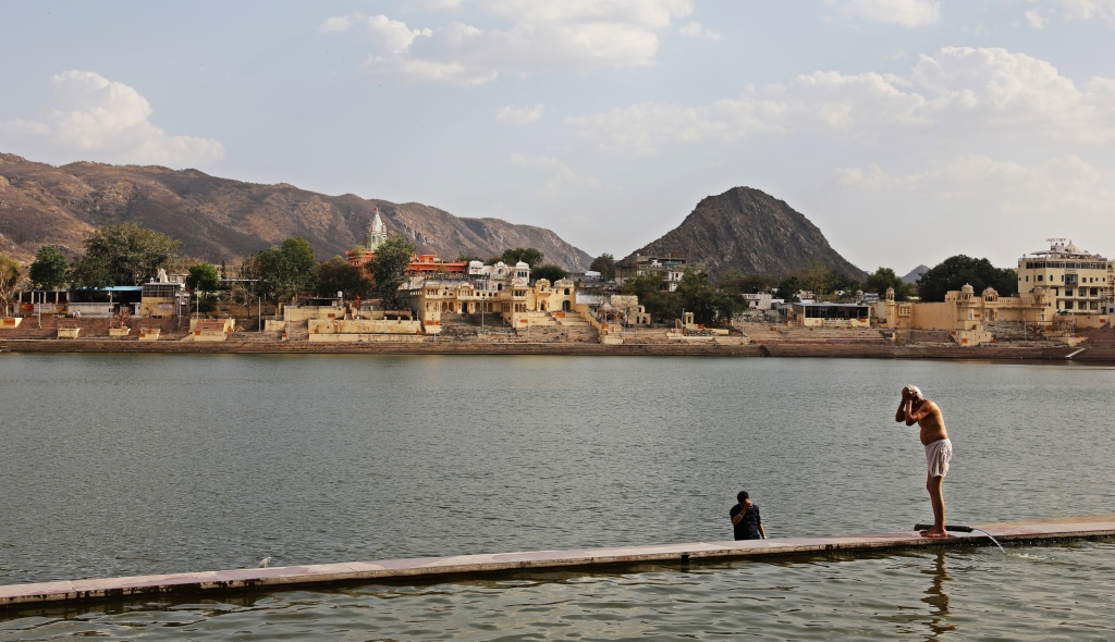 Bathing in Pushkar Lake